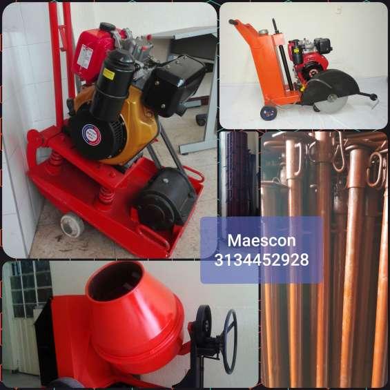 Ranas compactadoras, trompo o mezcladora para construcción