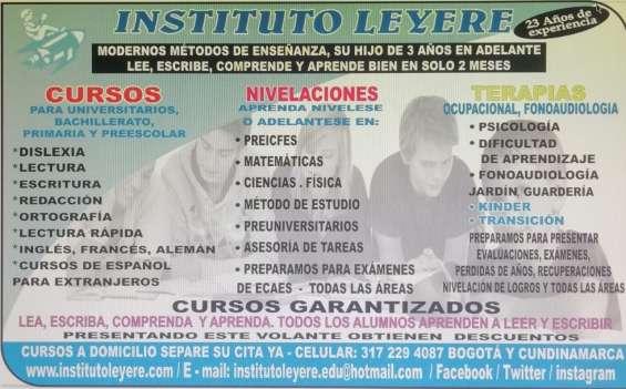 Cursos, nivelaciones, terapias, matemáticas, inglés, dificultad de aprendizaje