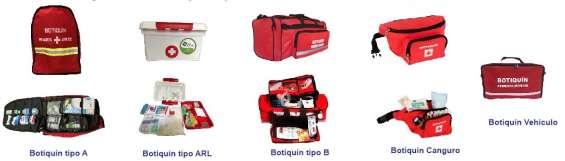 Botiquines tipo a, b, c, morral, maleta, gabinete, indumasas