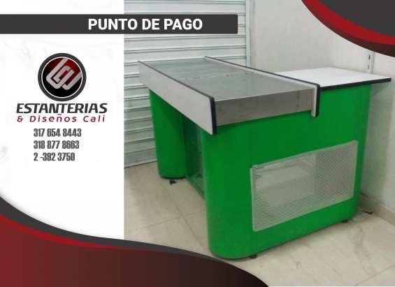 Punto de pago color blanco con biselado verde green