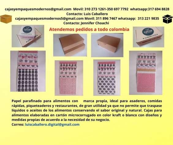 Cajas para alimentos, papel antigrasas parafinado y bolsas para papitas